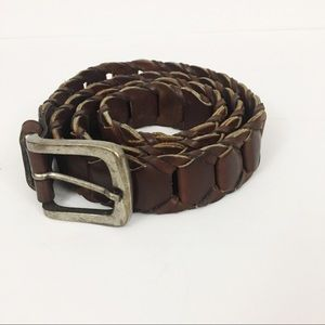 Dark Brown Leather Braided Loop Belt
